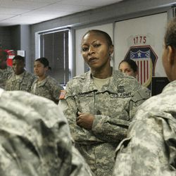 FILE -In this Tuesday, Sept. 15, 2009 file photo, Command Sgt. Maj. Teresa King, 48, queries young soldiers during an inspection of the barracks at Fort Jackson, S.C. The first female commandant of the Army's prestigious drill sergeant school is taking legal action to fight her suspension and asking that two of her superiors be investigated for abusing their authority. The Army suspended her Nov. 29, 2011, and gave no reason for the action except to say it was a personnel matter.