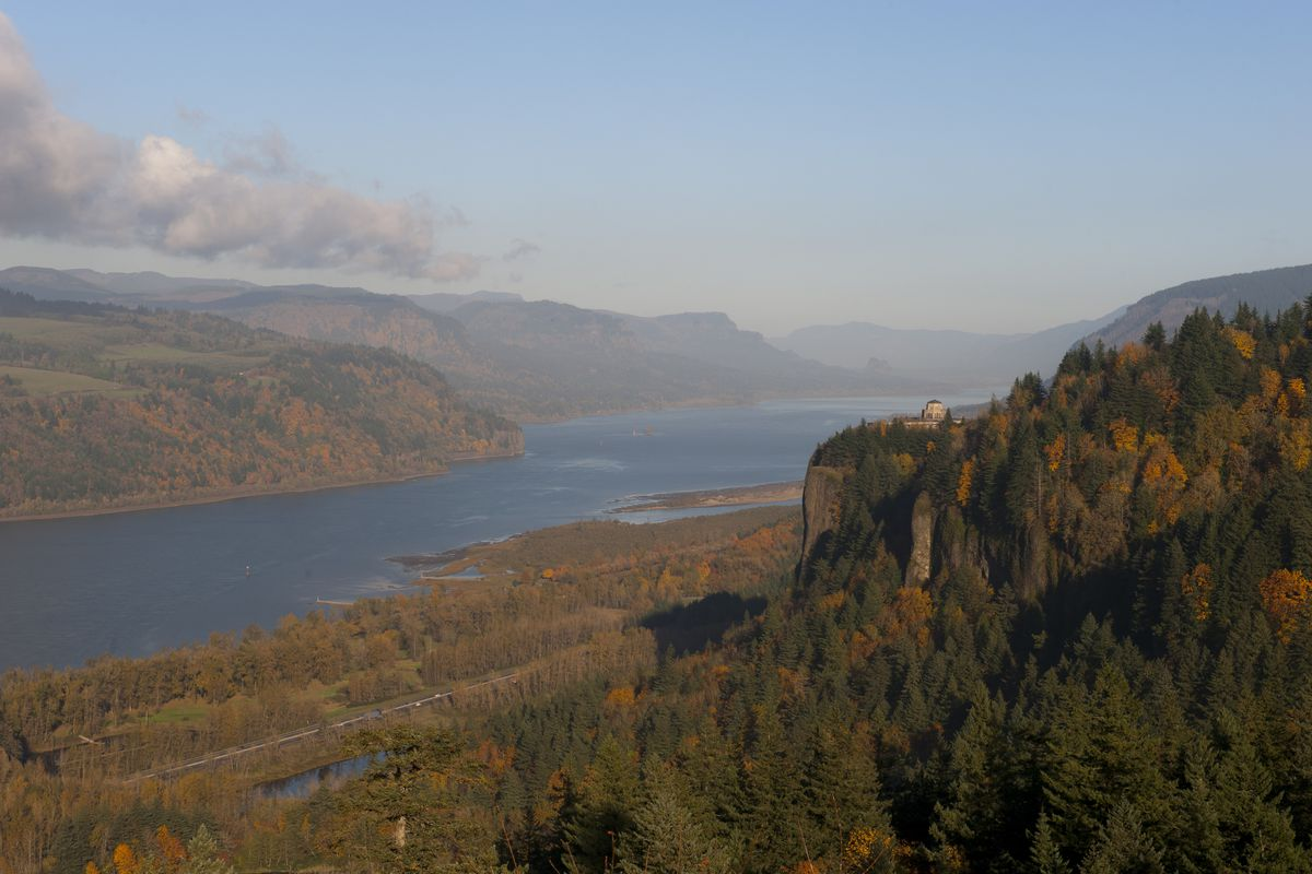 View of the Columbia River gorge with the Vista House in the...
