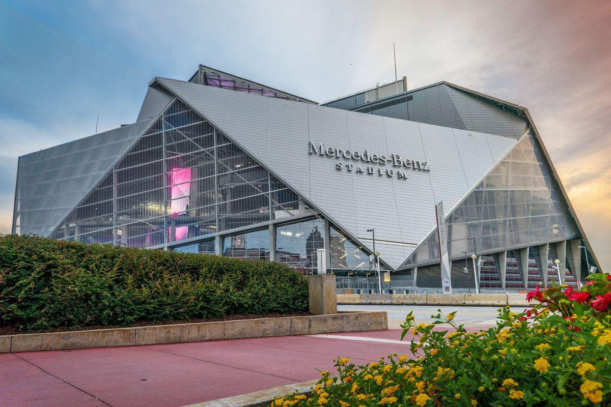 An exterior shot of Mercedes-Benz Stadium.