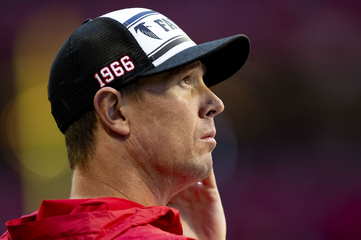Matt Ryan of the Atlanta Falcons looks on during the first half of a game against the Seattle Seahawks at Mercedes-Benz Stadium on October 27, 2019 in Atlanta, Georgia.