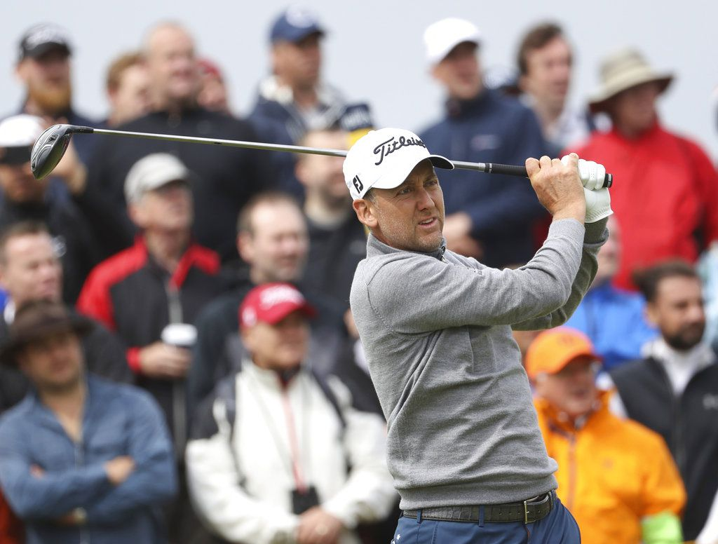 England's Ian Poulter plays a shot off the 9th tee during the second round of the British Open Golf Championship.   Peter Morrison/Associated Press