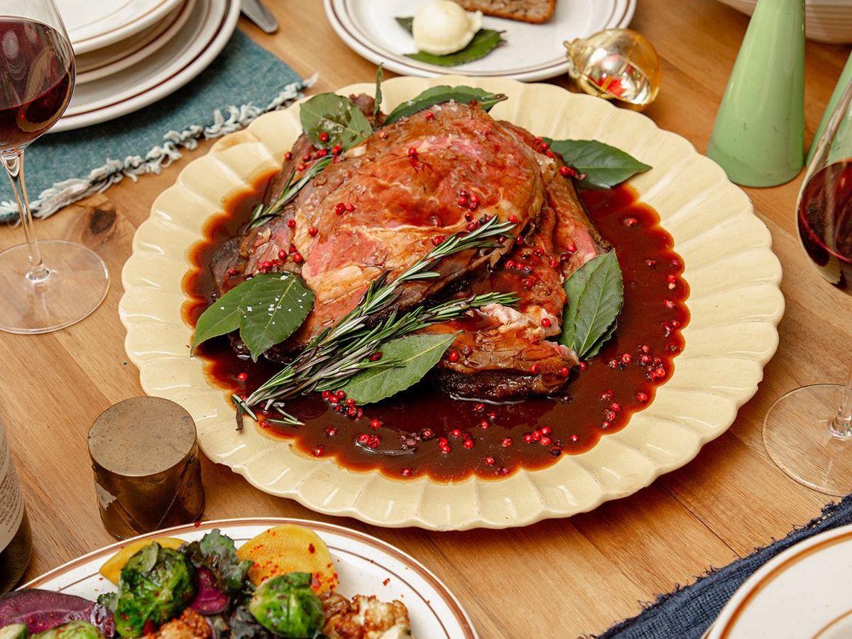 A rib eye roast and sides.