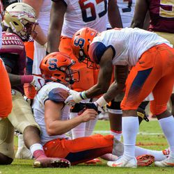 Syracuse QB Eric Dungey being convinced he has to get off the ground.