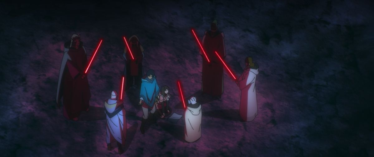 sith masters hold red lightsabers in STar Wars: Visions