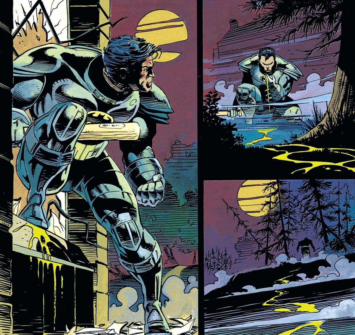 Helmet off, an exosuited Batman steps out of a smashed ground floor window of Wayne Manor into a night lit only by a bright yellow moon. Baseball bat gripped in his right hand, he examines a trail of livid yellow blood, and follows it into the woods in Batman vs. Predator #3, DC Comics (1991).