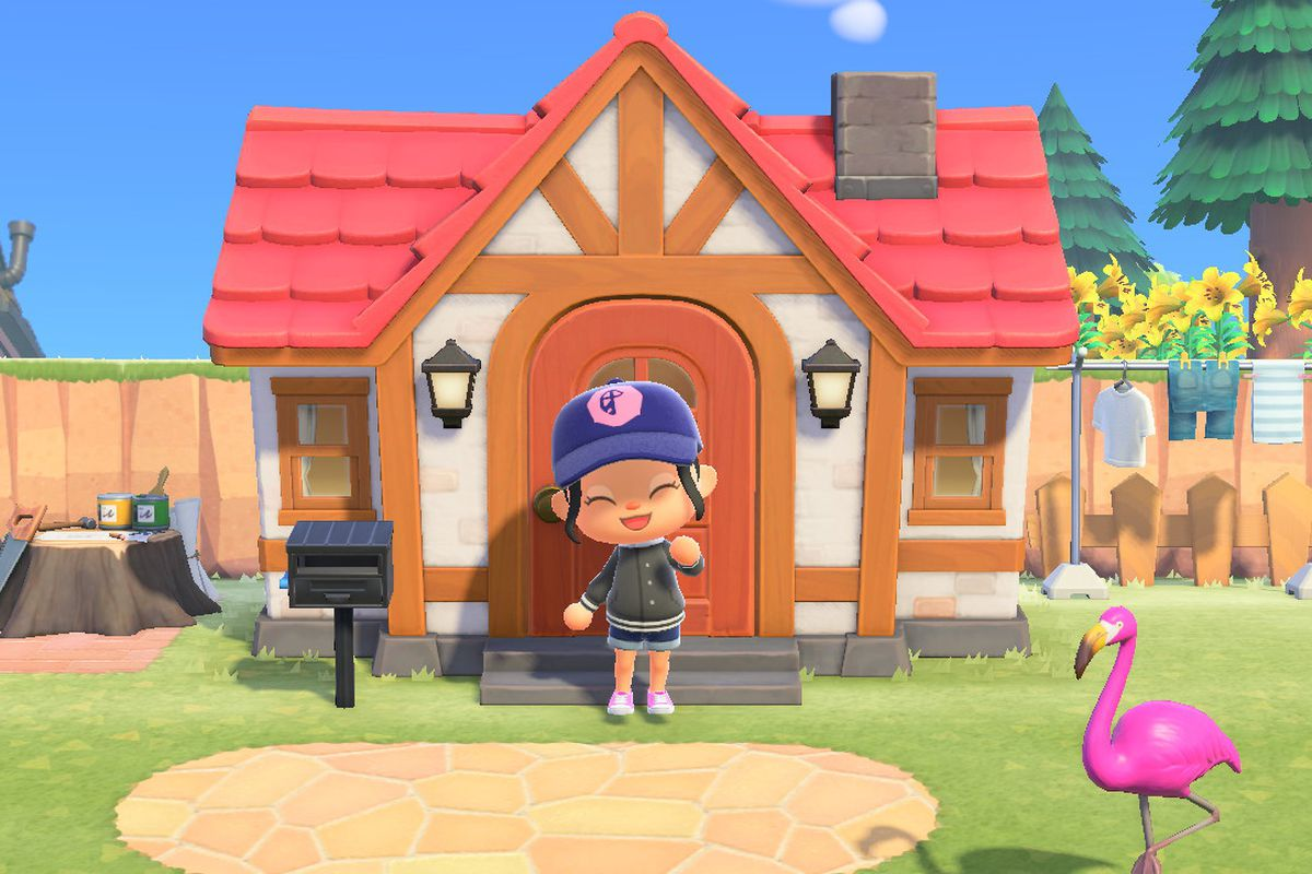 An Animal Crossing character waves outside of her house