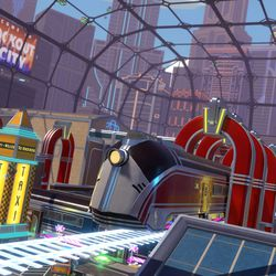 Jukebox Junction is the first seasonal map to be introduced to <em>Knockout City</em>. Velan Studios promises more on the post-launch roadmap.