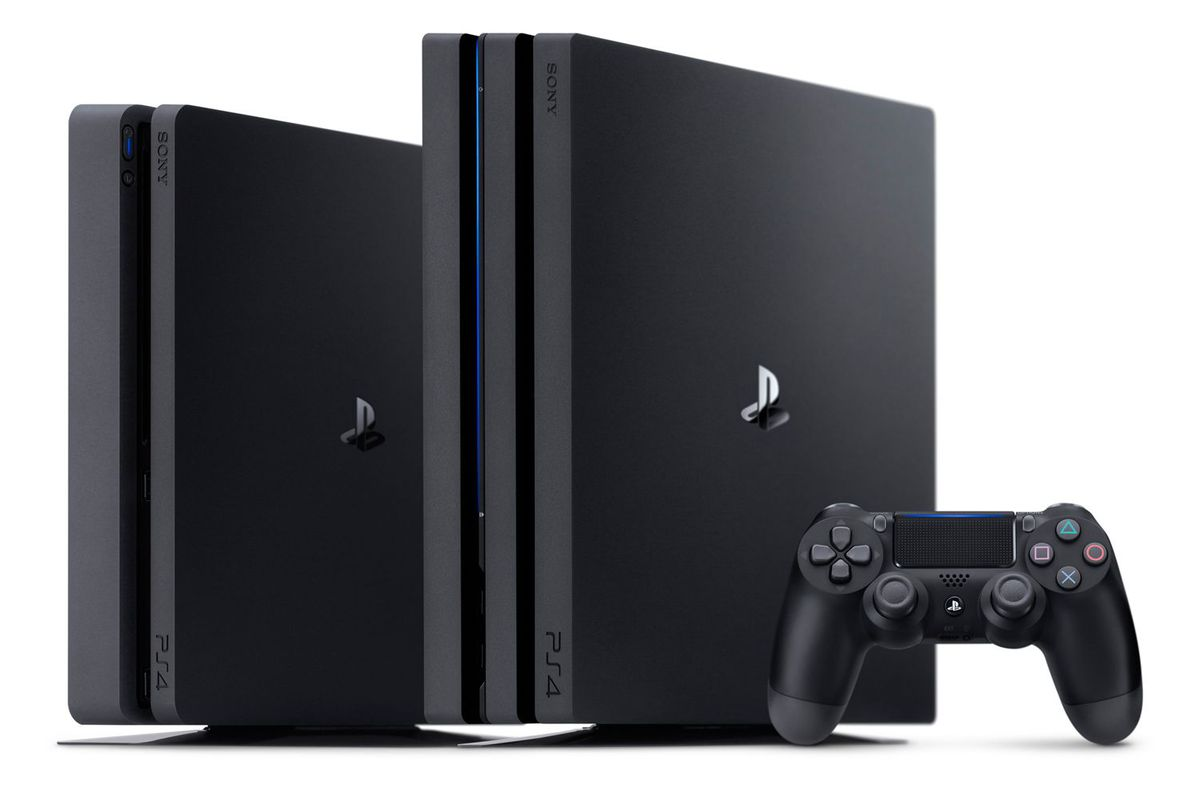 image of a PS4 Slim, a PS4 Pro and a DualShock 4 controller side-by-side