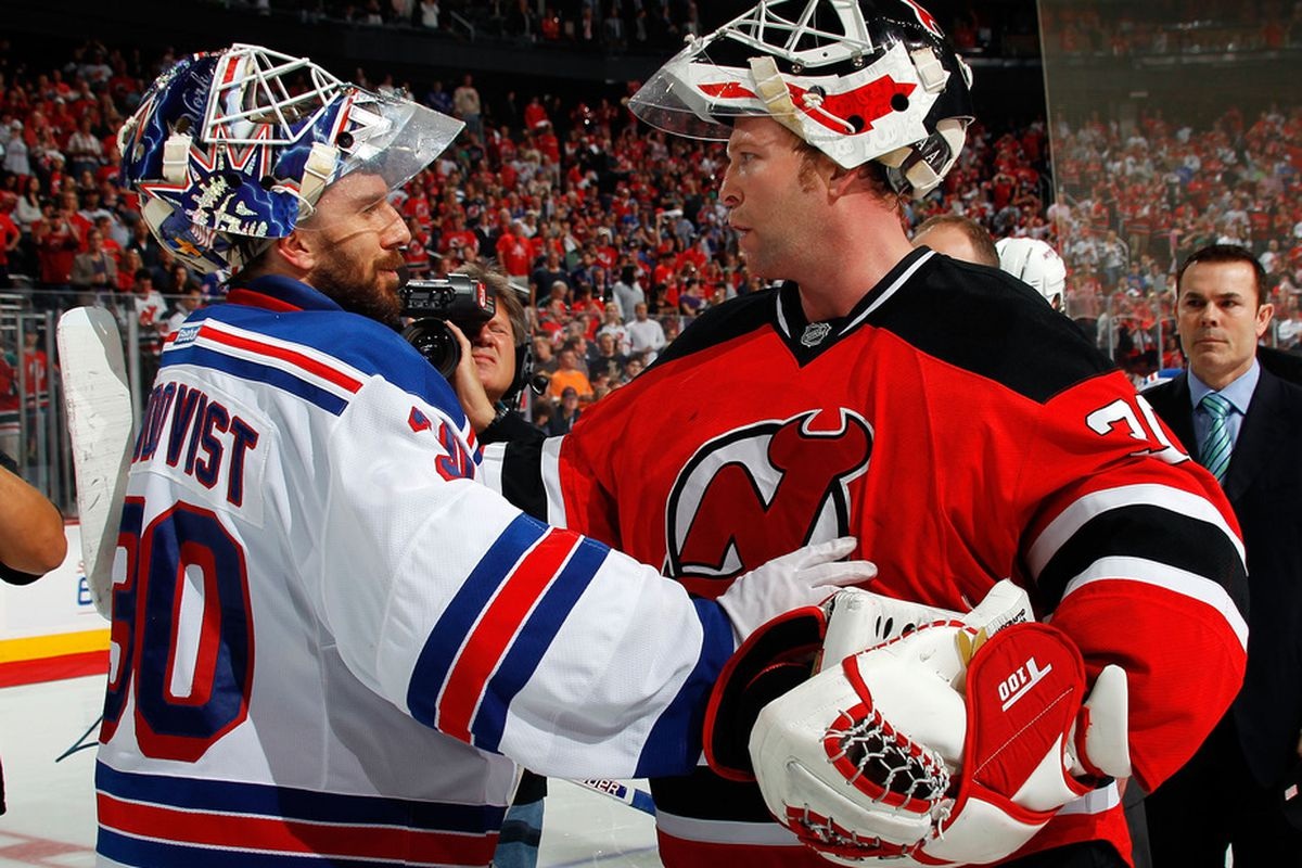 Lundqvist! Brodeur! Faceoff again on October 17 at the Rock and will be exclusive on NBC Sports Network*!! (Adam Oates won't return, game subject to change because it may not happen as far as we know.)  (Photo by Bruce Bennett/Getty Images)