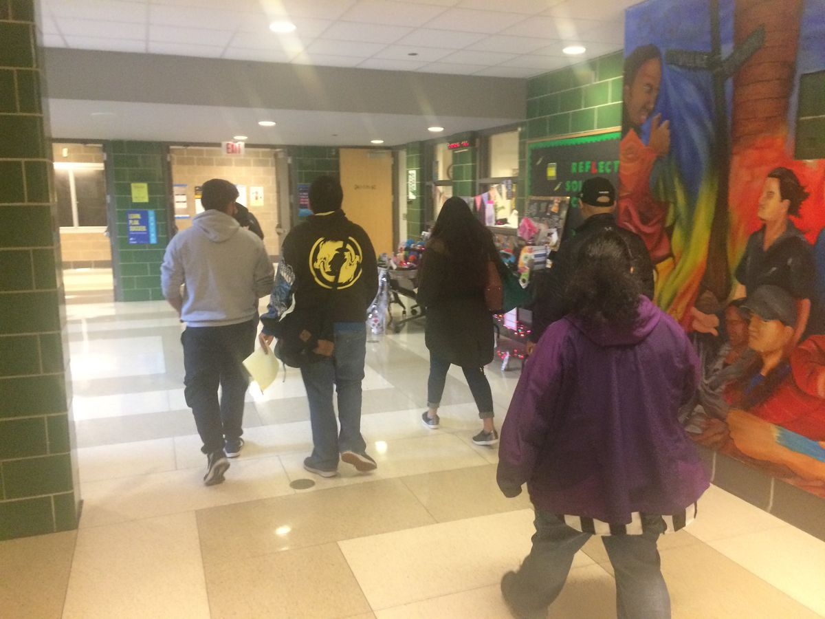 On Nov. 2, students lead parents on a tour of Little Village Lawndale High School.