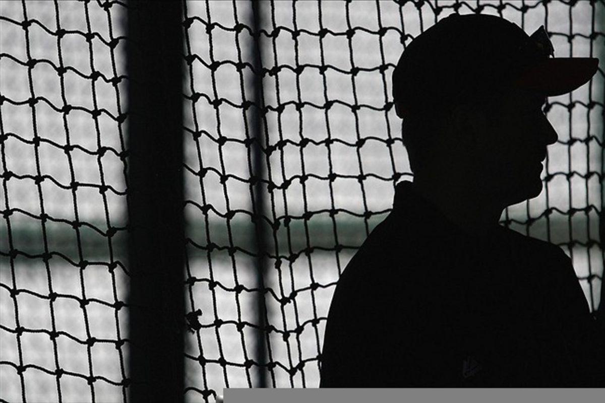 Feb 25, 2012; Scottsdale, AZ, USA; San Francisco Giants spring instructor Jeff Kent during a workout during spring training at Scottsdale Stadium.  Mandatory Credit: Jake Roth-US PRESSWIRE
