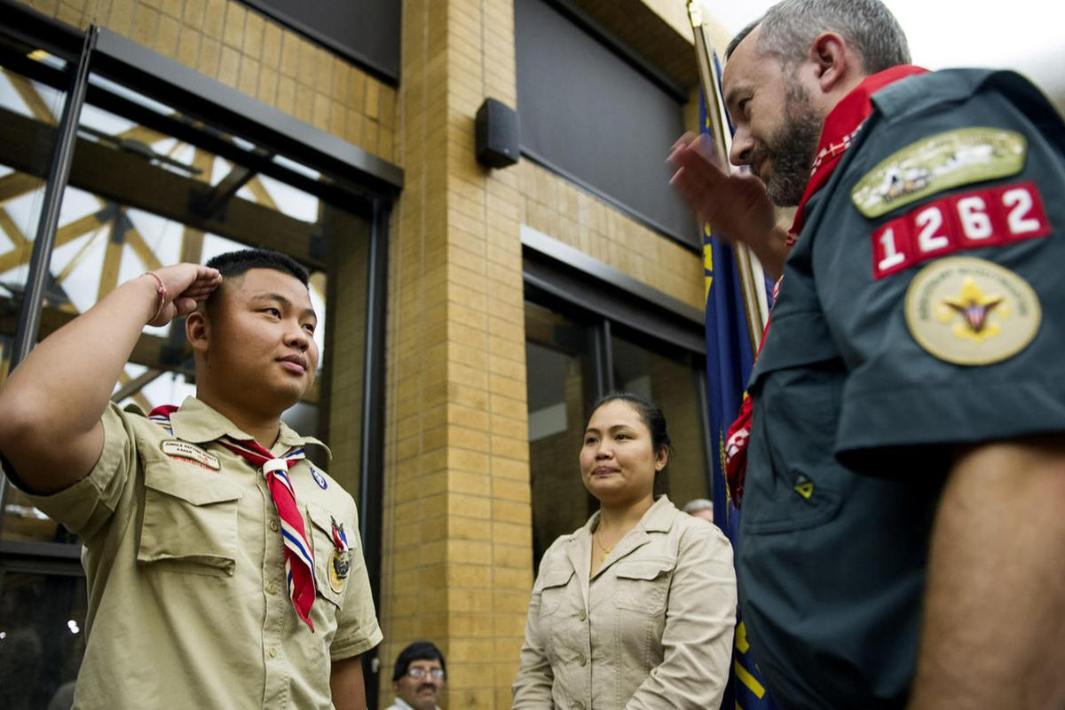FILE - Scout Aye Kyi receives his Eagle Scout rank, the highest rank in scouting, during a Court of Honor ceremony at Camp Tracy Lodge in Salt Lake City on Thursday, Sept. 28, 2016.