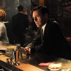 """This image released by AMC shows Don Draper portrayed by Jon Hamm in the season five finale of """"Mad Men."""""""
