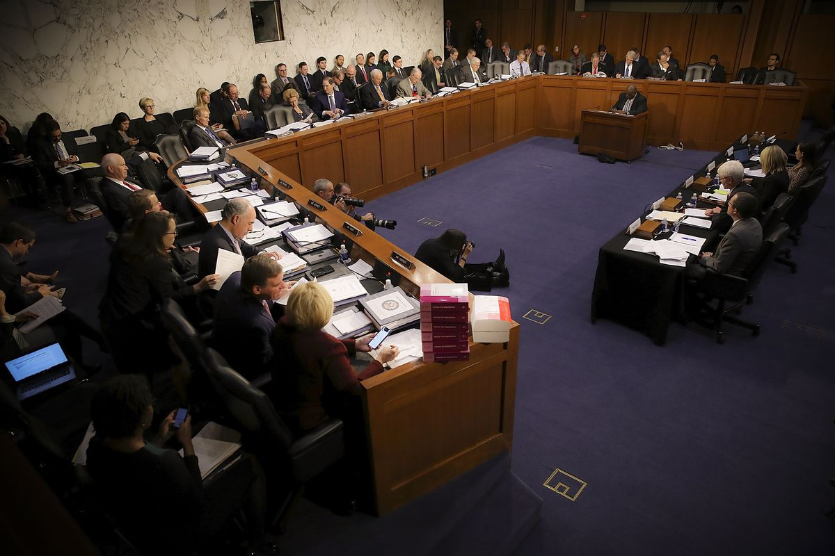 WASHINGTON, DC - NOVEMBER 15:  Members of the Senate Finance Committee participate in a markup of the Republican tax reform proposal on November 15, 2017 in Washington, DC. Republicans announced their intention to include a repeal of the Affordable Care Act's individual madate.  (Photo by Win McNamee/Getty Images)
