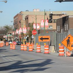 10:41 a.m. View looking north on Clark Street, showing the new one way routing -