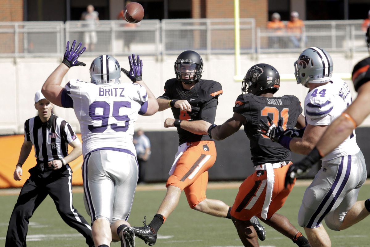 Opposing kickers became used to seeing this sight in 2013 — Travis Britz in the air, with his arms outstretched, ready to block their kick right back into their face.
