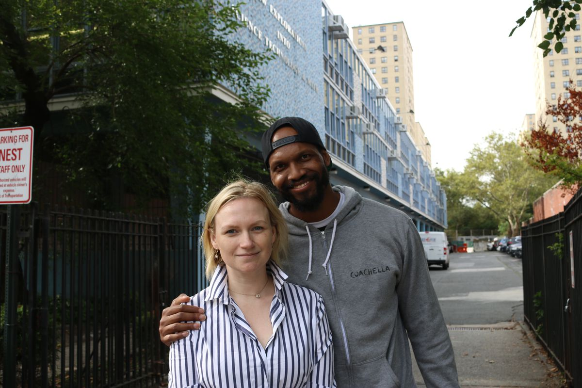Kyle Jones and Olga Osminkina-Jones dropped their daughter off at NEST+M on the first day of school.
