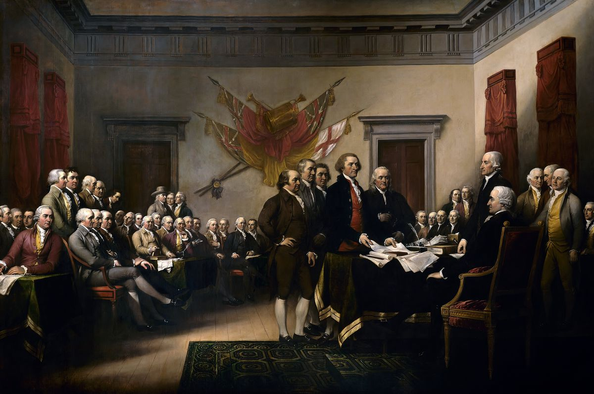 John Trumbull's depiction of the signing of the Declaration of Independence