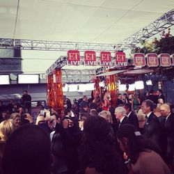 Once you're on the red carpet, it's absolutely nutty. Ropes separate the star guests and regular folk guests.