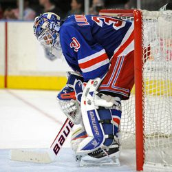 New York Rangers goaltender Henrik Lundqvist, of Sweden, reacts during the third period of Game 5 of an NHL Stanley Cup first-round hockey playoff series against the Ottawa Senators, Saturday, April 21, 2012, at New York's Madison Square Garden. The Senators won 2-0 to lead the series 3-2.