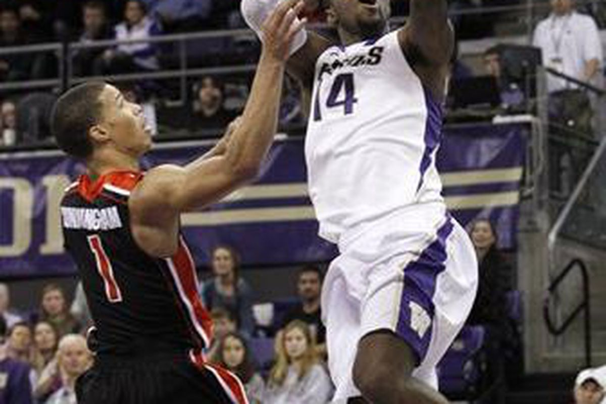 Just as Jared Cunningham, l., is Oregon St.'s best player, freshman Tony Wroten has emerged as Washington's leader. Who else will be a difference maker for the Huskies when they visit the Beavers on Sunday? <em>(AP photo by Elaine Thompson)</em>