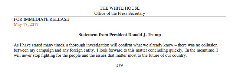 Donald Trump statement on special counsel