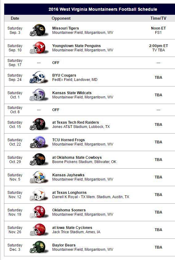 2016 WVU Football Schedule
