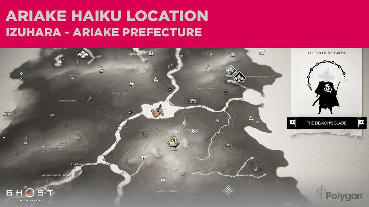 The Ariake haiku location in Ghost of Tsushima