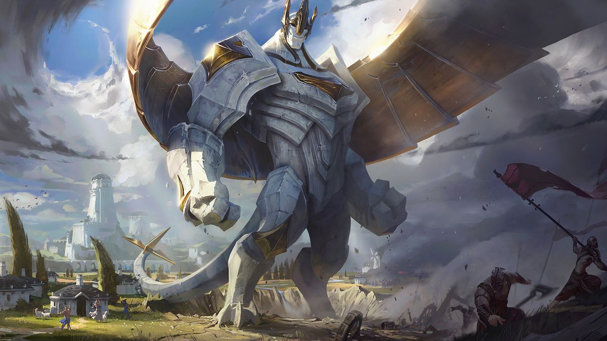 League of Legends - Galio, a white and gold golem that towers over the group of humans around him, stands in the Demacian countryside