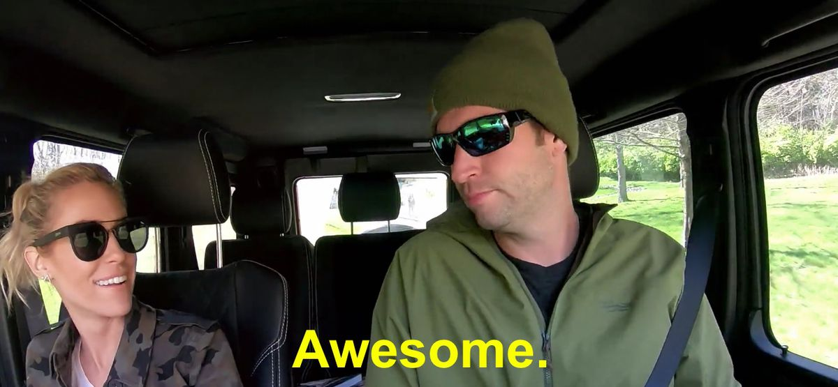 """Kristin Cavallari and Jay Cutler both wearing sunglasses in the car with the caption """"Awesome."""""""
