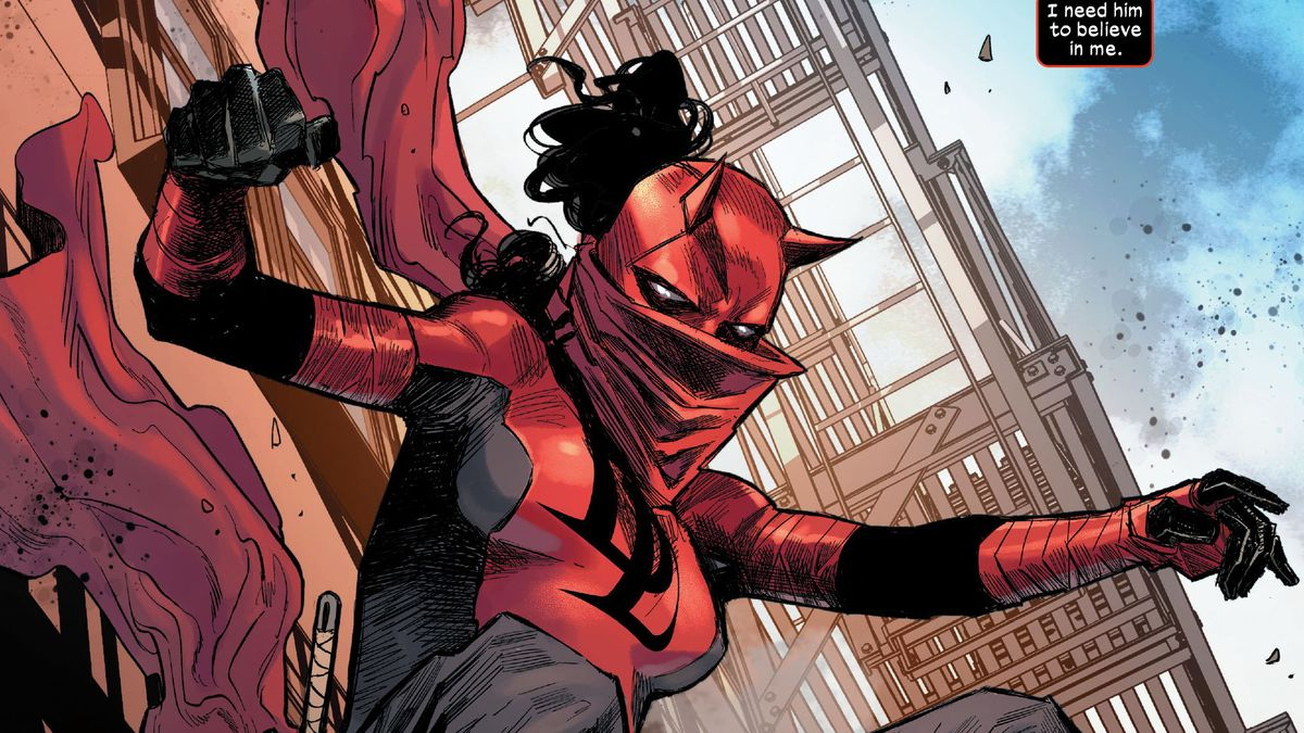 Elektra Natchios leaps from a building in her Daredevil garb, with loose pants, a flowing tunic and scarf, a horned daredevil mask, and her signature billowing hair, in Daredevil #25, Marvel Comics (2020).