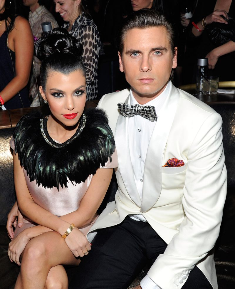 """Kourtney Kardashian and Scott Disick attend the launch of AG Adriano Goldschmied's """"backstAGe presents:"""" initiative at the Cosmopolitan in Las Vegas in 2011."""
