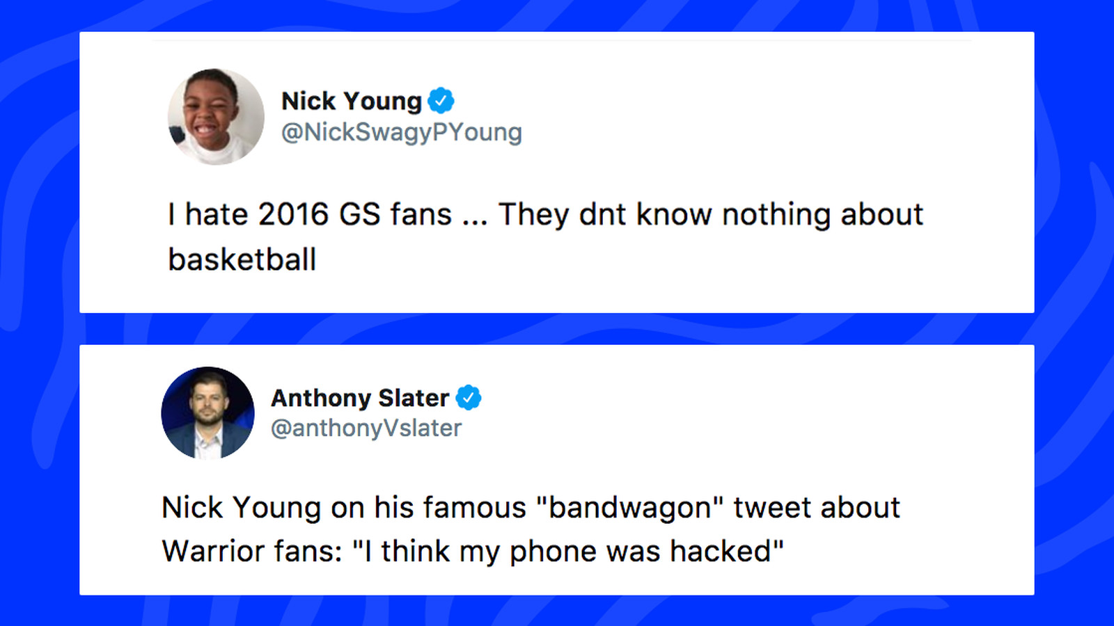 brand new a04af a9b96 Nick Young's tweets making fun of Warriors fans resurface ...