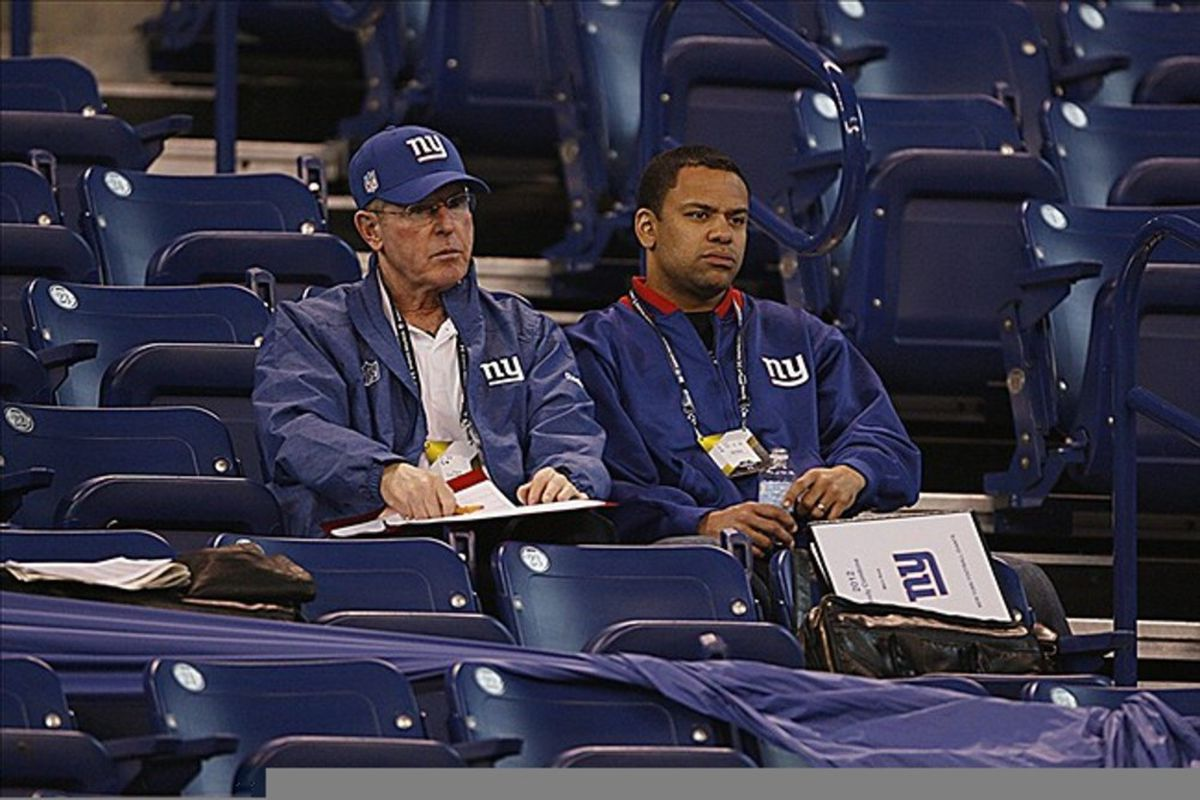 Giants' coach Tom Coughlin observes from his seat at the NFL Combine last February. Yes, Coughlin has a specific seat he likes at Lucas Oil Stadium.