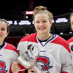 Cassandra Poudrier, Sarah Lefort, and Marion Allemoz were three of the rookies to win the Clarkson Cup this year.