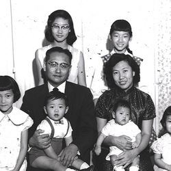 The Yu family in 1960 in Los Angeles. That's Linda in the back row on the right.   Linda Yu Family Photos