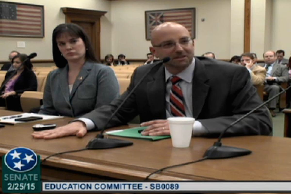Barbic before the Senate Education Committee with state Education Commissioner Candice McQueen