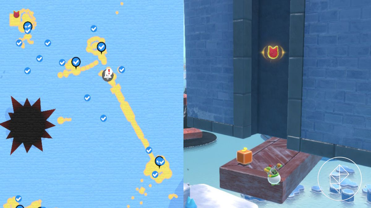 A map showing where to find a Cat Shine Shard in a crevice near a floating tower