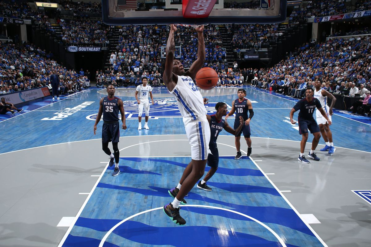 James Wiseman of the Memphis Tigers dunks the ball against the South Carolina State Bulldogs during a game on November 5, 2019 at FedExForum in Memphis, Tennessee.