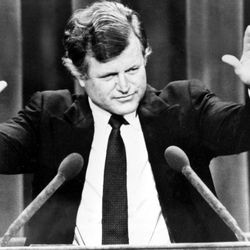 """FILE - In this Aug. 12, 1980, file photo, Sen. Edward M. Kennedy responds to the applause at the presidential Democratic National Convention in New York City. Democrats have little hope of matching the fervor and historical import of their 2008 convention, when they made Barack Obama the first black presidential nominee of a major political party. One of the memorable moments from past conventions was when Kennedy's challenge to President Jimmy Carter fell short, he conceded with a defiant note: """"The cause endures, the hope still lives and the dream shall never die."""" In 2008, stricken by incurable brain cancer, Kennedy will echo these words as he passes the torch to Barack Obama: """"The work begins anew, the hope rises again and the dream lives on."""""""