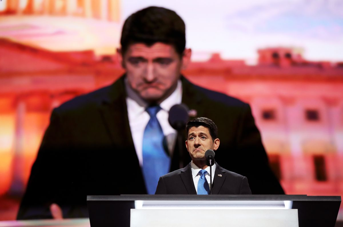 Paul Ryan speaking at the Republican National Convention in Cleveland in July 2016 (with a huge TV-screen projection of Paul Ryan in the background). Both real Paul Ryan and huge-projection Paul Ryan are pouting comically.