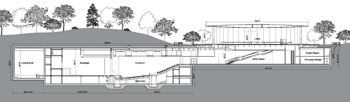 a section drawing of the steve jobs theater the city of cupertino