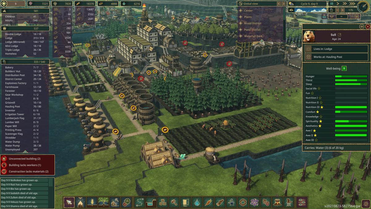 """A screenshot of Timberborn that shows a farm during the river's wet season, a few buildings, the sim management menu, and the wellness rating of a beaver named """"Sull"""""""