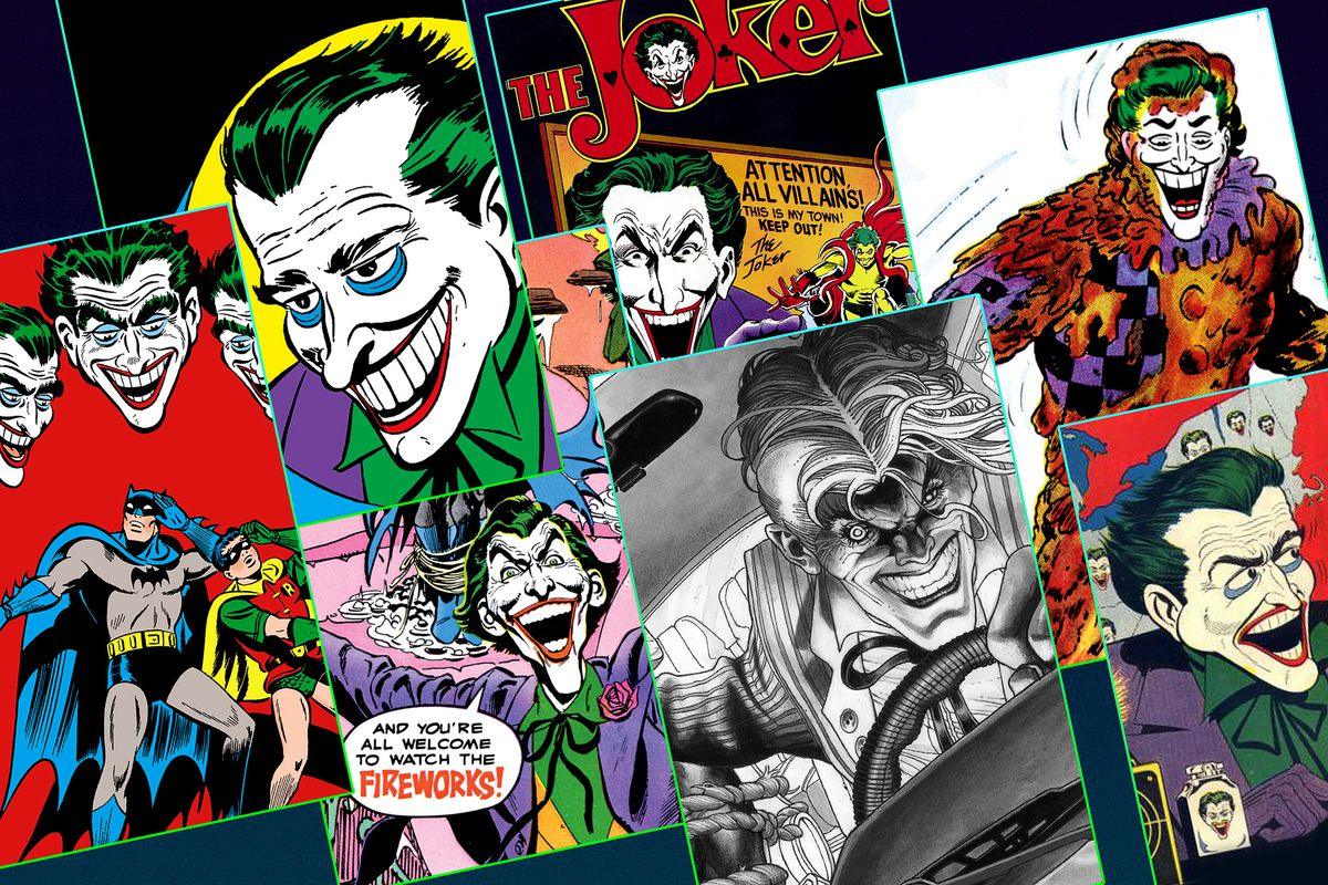 """the covers of seven different comics featuring """"The Joker"""""""