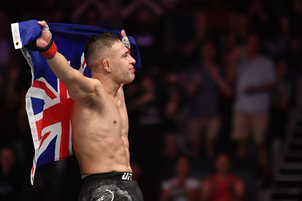 Kai Kara-France of New Zealand reacts after the conclusion of his flyweight bout against Tyson Nam during the UFC Fight Night event at Spark Arena on February 23, 2020 in Auckland, New Zealand.