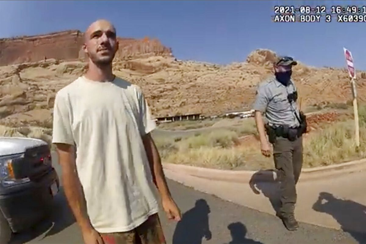 Moab Police Department shows Brian Laundrie talking to a police officer.