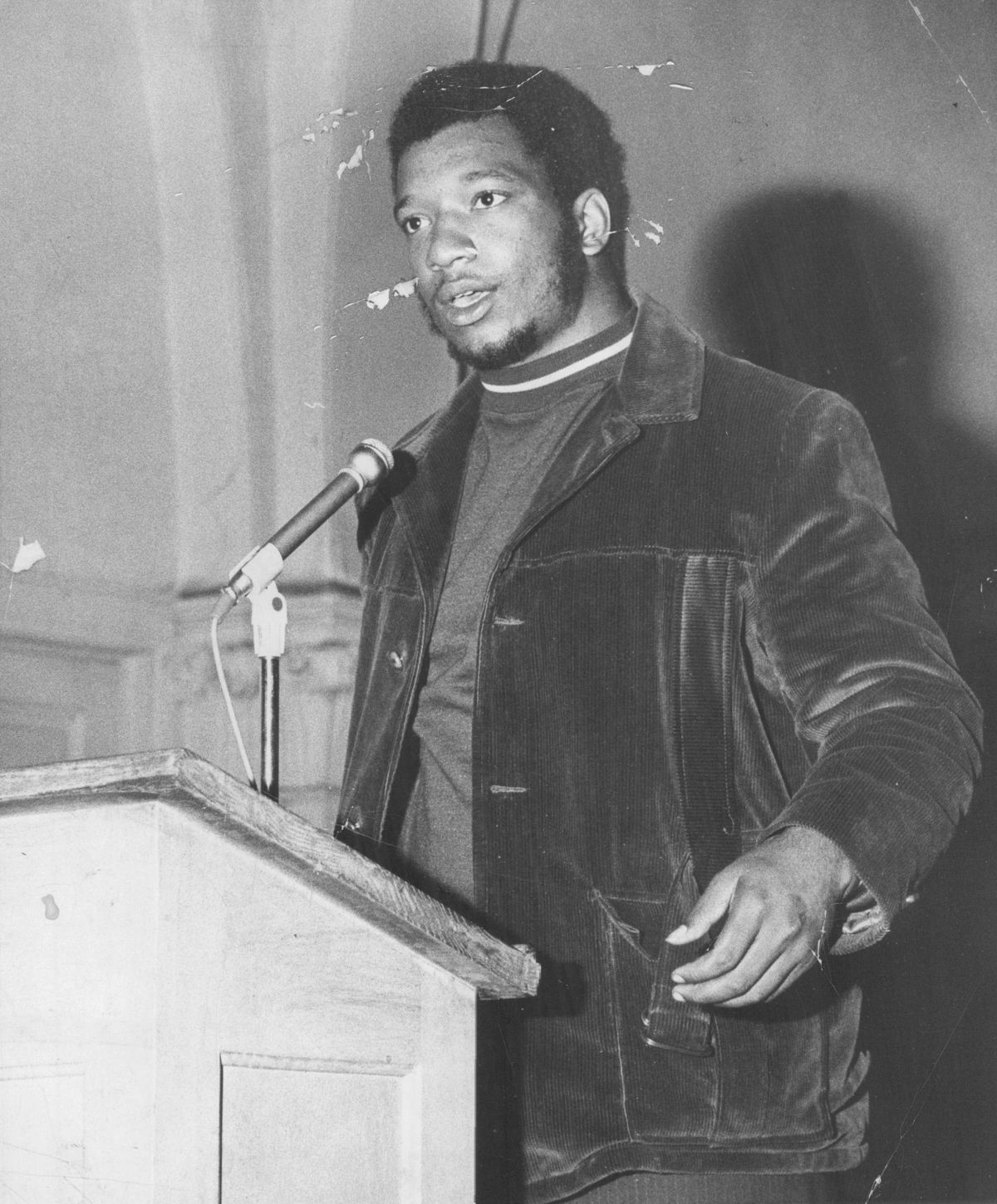 Fred Hampton speaking at a church in an undated photo.