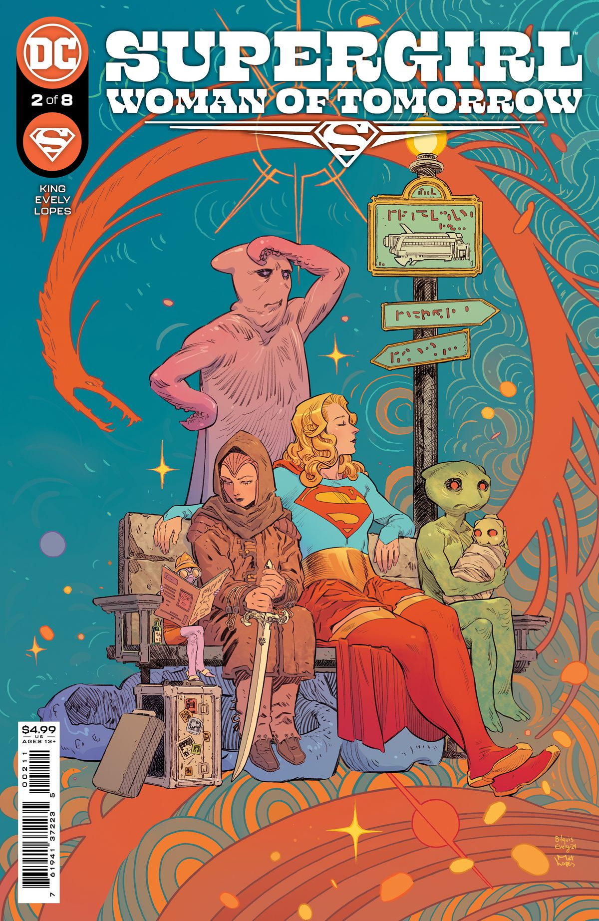 Supergirl waits at a bus stop with aliens on the cover of Supergirl: Woman of Tomorrow #2, DC Comics (2021).