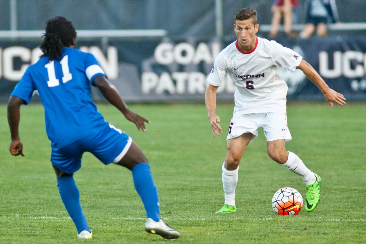 UConn sophomore left back Dylan Greenberg could be out for the season after suffering a collarbone injury Friday against St. Francis (NY).