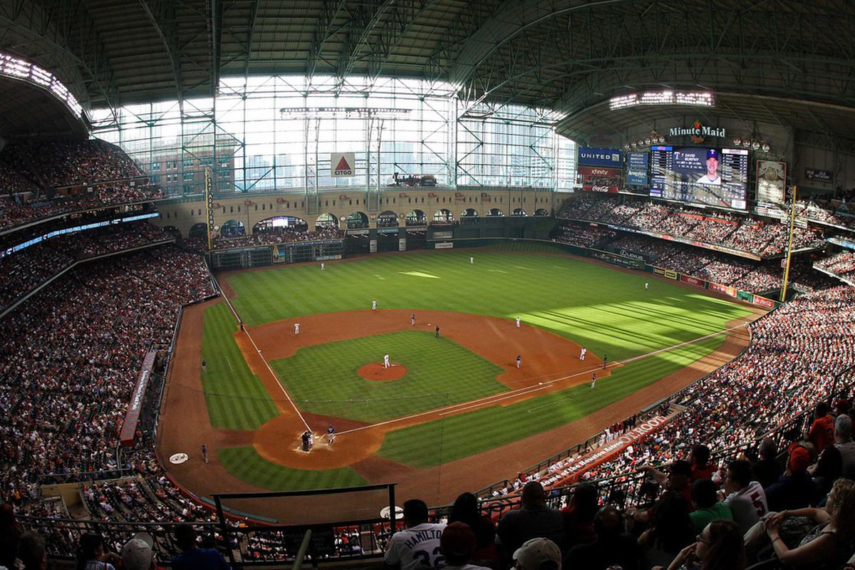 May 19, 2012; Houston, TX, USA;  General view of Minute Maid Park during a game between the Houston Astros and the Texas Rangers. Mandatory Credit: Troy Taormina-US PRESSWIRE